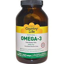 """Рыбий жир Country Life """"Оmega-3"""" 1000 мг (200 гелевых капсул)"""