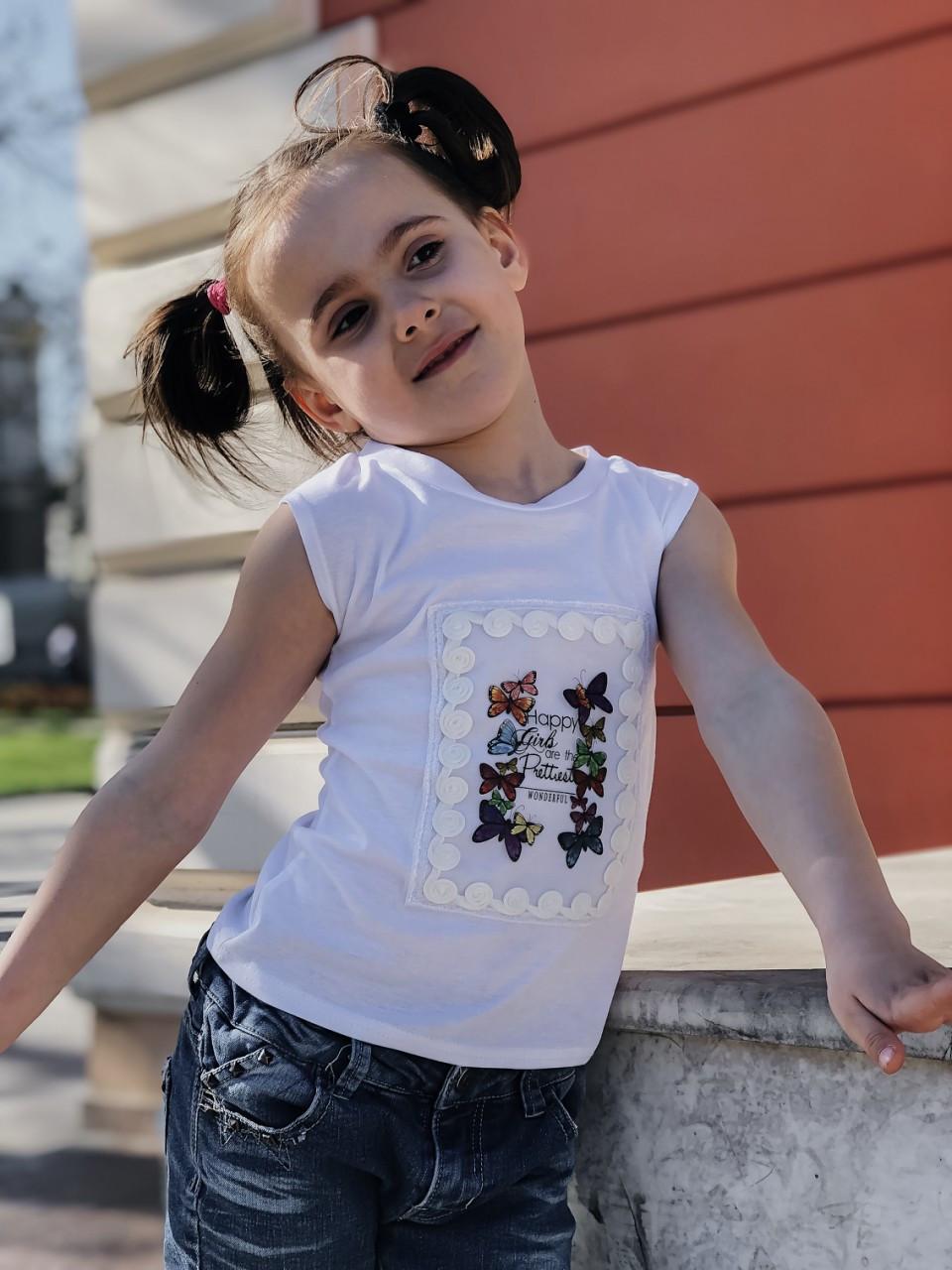 """Детская летняя футболка для девочки с красивой аппликацией спереди, серия """"мама и дочка"""""""