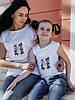 """Детская летняя футболка для девочки с красивой аппликацией спереди, серия """"мама и дочка"""", фото 3"""