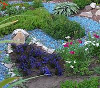 Декоративный цветной гравий голубая (щебень, крошка) ландшафтного дизайна