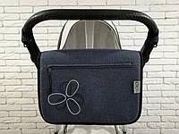 Сумка на коляску Ok Style Цветок Лен Темно-синий джинс, фото 1