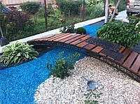 Декоративный цветной гравий синяя (щебень, крошка) ландшафтного дизайна