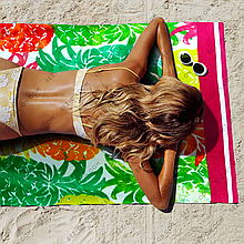 Полотенце пляжное яркие ананасы 170*90 см сауна Турция Lotus