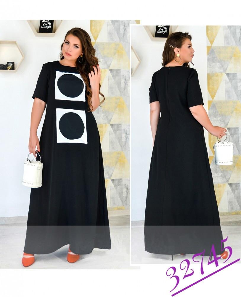 Длинное платье в пол летнее с рукавом черное из штапеля-льна размеры от 50 до 62