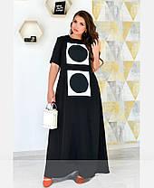 Длинное платье в пол летнее с рукавом черное из штапеля-льна размеры от 50 до 62, фото 2