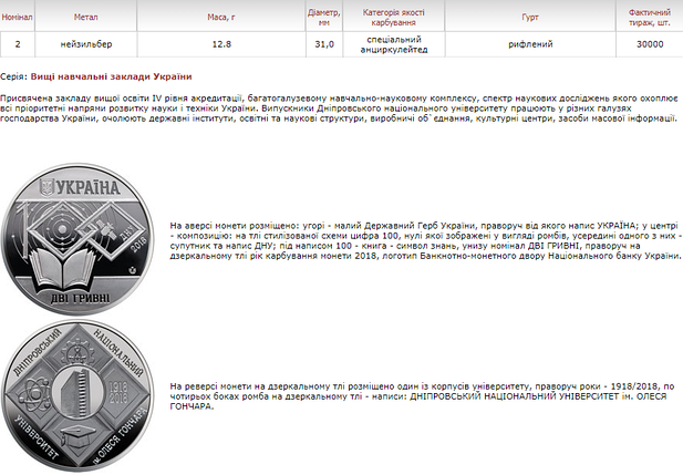 100 років Дніпровському національному університету імені Олеся Гончара монета 2 гривні, фото 2