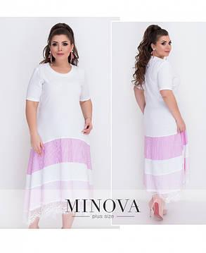 Платье макси ассиметрия белое с полосами розовый голубой синий 48-64 большие размеры , фото 2