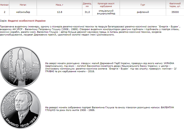 Валентин Глушко монета 2 гривні, фото 2