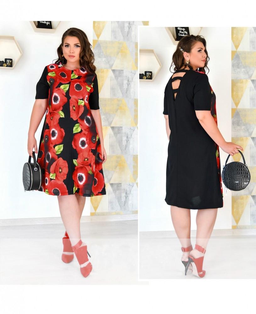 Нарядное платье до колена с рукавом черное в маки из штапеля-льна размеры от 50 до 62
