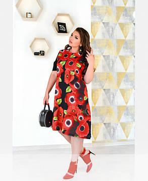 Нарядное платье до колена с рукавом черное в маки из штапеля-льна размеры от 50 до 62, фото 2