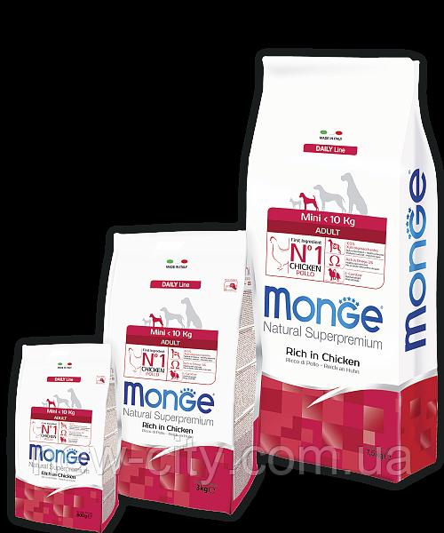 Monge MINI ADULT CHICKEN & RICE сухой корм для собак мелких пород КУРИЦА и РИС 7,5кг
