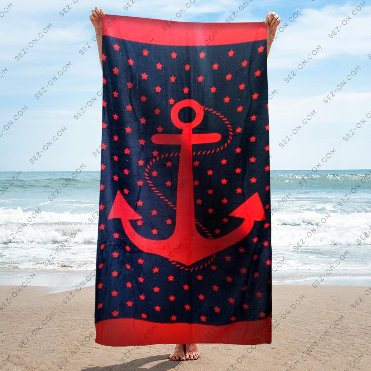 Полотенце пляжное синее с красным якорем и звездами 150*75 см банное Турция