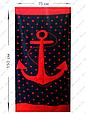 Полотенце пляжное синее с красным якорем и звездами 150*75 см банное Турция, фото 2