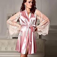 Шикарный  халатик с широкими кружевными рукавами.Розовый