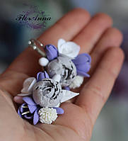 """Серьги с цветами """"Лавандовый закат"""", фото 1"""