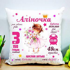 """Именная подушка метрика """"Аліночка"""""""