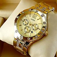 Женские кварцевые часы Guess А43 на металлическом браслете, золотого цвета, с золотым циферблатом, с датой