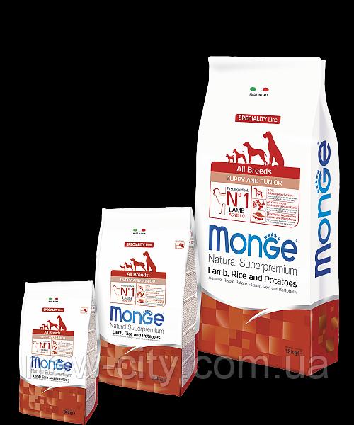 Monge PUPPY JUNIOR LAMB, RICE & POTATOES сухой корм для щенков ЯГНЕНОК & РИС и КАРТОФЕЛЬ 2.5кг