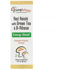 """Красный гриб Рейши California GOLD Nutrition """"Red Reishi with grean tea"""" с зеленым чаем и D-рибозой (60мл)"""