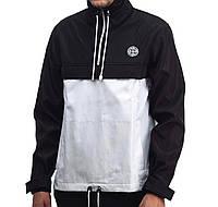 """Анорак мужской весенний лого SI """"Стон Айленд"""" белый с черным (реплика) - размеры L, XL"""