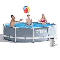 Каркасний басейн Intex 26702-4 з картриджних насосом, тентом і підстилкою, фото 1