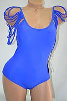 Купальник Fuba цельный вставной поролон без косточки с веревочными рукавами Синий, фото 1