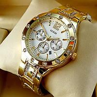 Женские кварцевые часы Guess А43 на металлическом браслете, золотого цвета, с серебристым циферблатом, с датой