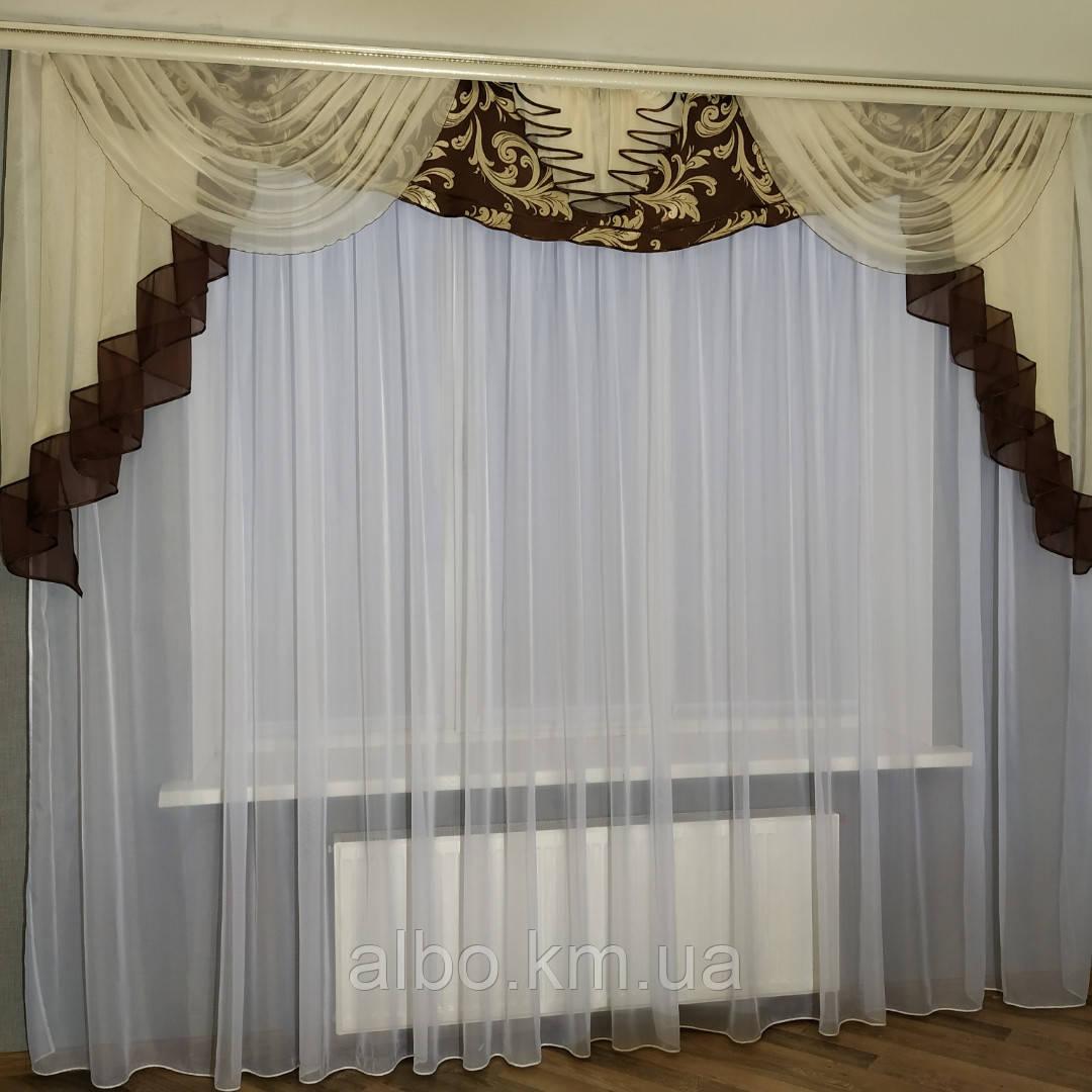 Нежный ламбрекен для спальни блэкаут ALBO 300x100 cm Шоколадно-кремовый (L308-7-1)