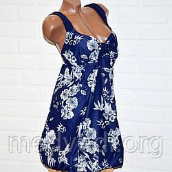 Сине-белый купальник платье 74 размер, танкини с 66 по 74