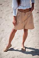 Шорты женские из коттона свободного кроя с косыми карманами (К28137), фото 1