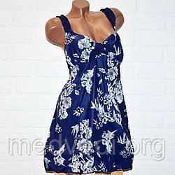 Синий купальник платье 72 размер, отличное качество, полномерный