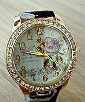 Женские часы Flower кожаный ремешок (Чёрные)