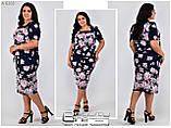 Летнее легкое платье ткань масло  в цветы Размер- 50.52.54.56, фото 2
