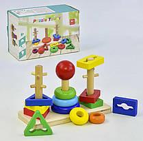 Деревянная логическая пирамидка С 36041 (72) в коробке