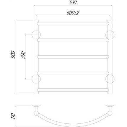 Электрический полотенцесушитель Q-tap Classic (CRM) P5 500х500 RE, фото 2