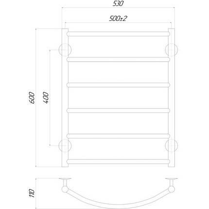 Электрический полотенцесушитель  Q-tap Classic (CRM) P6 500х600 RE, фото 2
