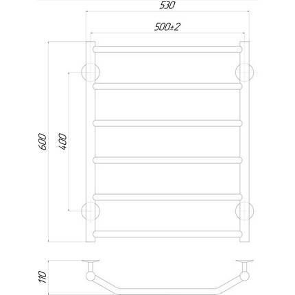 Электрический полотенцесушитель  Q-tap Trapezium (CRM) P6 500х600 RE, фото 2