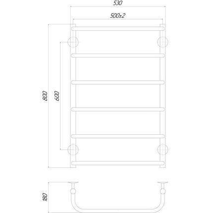 Электрическийполотенцесушитель  Q-tap Standard (CRM) P6 500х800 LE, фото 2