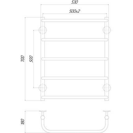 Электрический полотенцесушитель  Q-tap Standard (CRM) P5 500х700 RE, фото 2