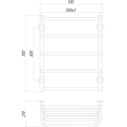 Электрический полотенцесушитель  Q-tap Standard shelf (CRM) P5 500х700 RE, фото 2