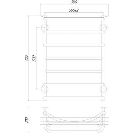 Электрический полотенцесушитель  Q-tap Yunost (CRM) P7 500х700 LE, фото 2