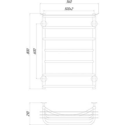 Электрический полотенцесушитель  Q-tap Yunost (CRM) P7 500х800 LE, фото 2