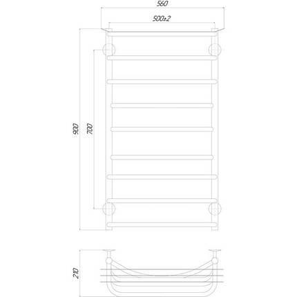Электрический полотенцесушитель  Q-tap Yunost (CRM) P9 500х900 LE, фото 2