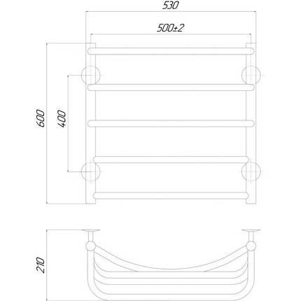 Электрический полотенцесушитель  Q-tap Cascade (CRM) P5 500х600 RE, фото 2