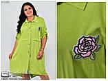 Платье рубашка лён полированный Размер-54.56.58.60.62, фото 2