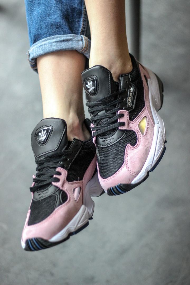 Стильные женские кроссовки Adidas Falcon Black/Pink