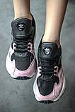 Стильні жіночі кросівки Adidas Falcon Black/Pink, фото 4