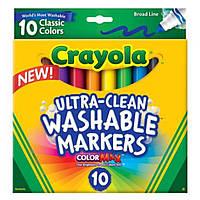 Смываемые фломастеры Crayola. Широкая линия. 10 шт в упаковке