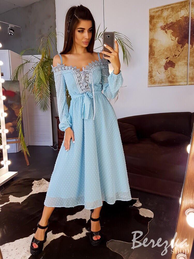 Платье миди с кружевом, на шнуровкой