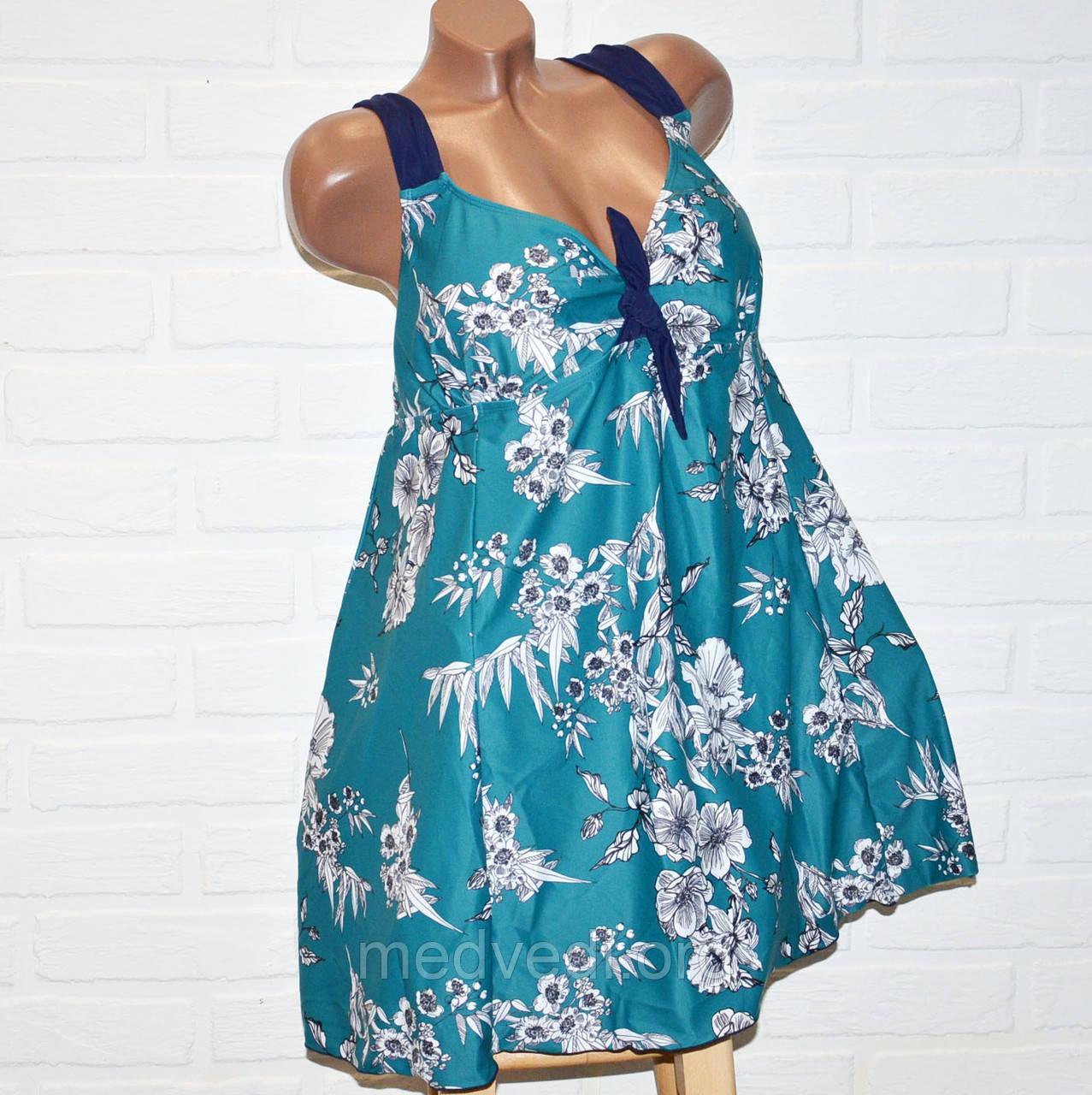Зеленый купальник платье 72 размер, отличное качество, полномерный